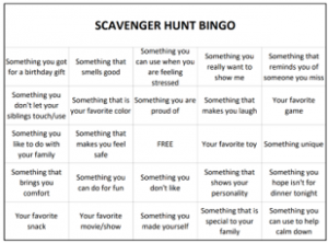family activities, scavenger hunt bingo